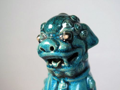 Rare Chinese Turquoise Enamelled Buddhist Guardian Lion,17/18 Century