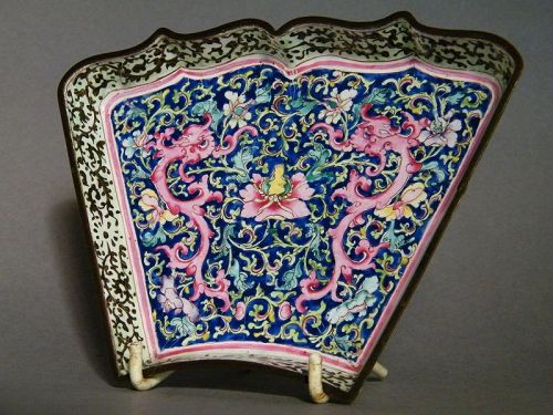 Rare Enamel on Copper Dish from China, Qianlong Reign (1736-1795)