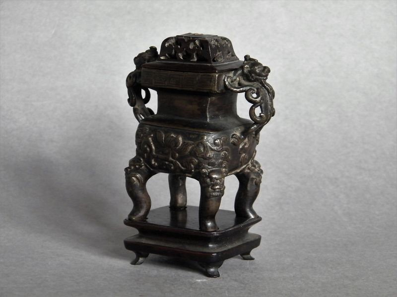 Small 17th Century Chinese Bronze Censer with Cover and Stand