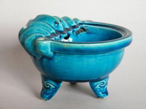Rare ChineseTurquoise Glazed Bat Form Incense Burner Kangxi  1662-1722