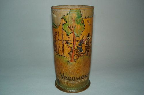 Important Documentary Dutch P.O.W. Painted Bamboo Pot July1943