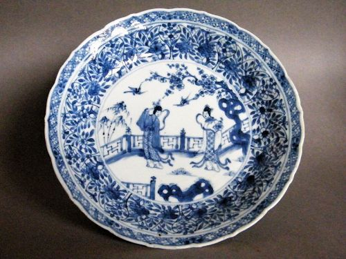 Early18th Century Chinese Export Blue White Porcelain Deep Dish, c1725