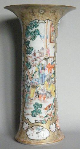 Rare 18th Century 42 cm Chinese Famille Rose Beaker Shaped Vase c1780
