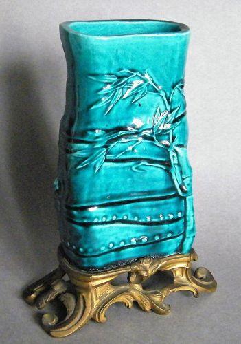 Fine Turquoise Glazed Chinese Porcelain Brush Pot, circa 1700-1730