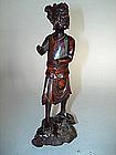 Rare Chinese Carved Wood Figure of Kuixing - Kangxi