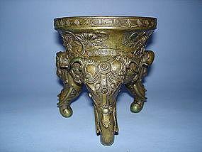 18thCentury Chinese Bronze Tripod Censer - Qianlong