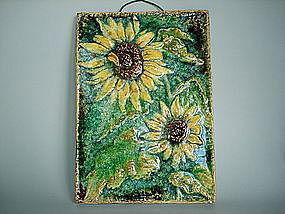 German Karlsruhe Sunflower Tile or Plaque - circa 1960s