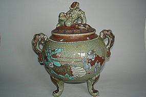 Large 19th or 20th Century Celadon Glazed Japanese Koro