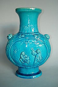 Very  Rare Early 18th C Turquoise Glazed Vase - Kangxi