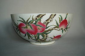 "Large Famille Rose ""Peach"" Bowl - Qianlong Yu Zhi Mark"