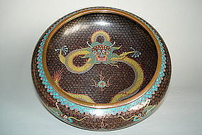 Fine 19th/ 20thC Chinese Cloisonne Enamel Dragon Bowl