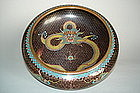 Fine 19th/ 20thC Chinese Cloisonne Enamel Dragon Bowl