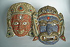 Pair Early 20th Century Himalayan Masks  Tibet or Nepal