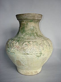 Chinese Han Dynasty Green Glazed Earthenware Jar - Hu