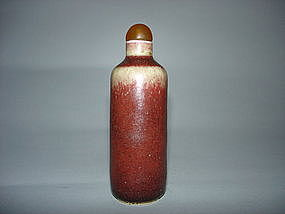 Lang Yao / Sacrificial Red Snuff Bottle - 19th Century or Earler