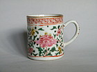 Rare Early 18th Cent Famille Rose Coffee Can, Yongzheng