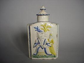 Staffordshire Prattware Tea Caddy / Cannister 1780-1790