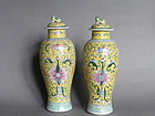 Pair of Late 19th Century Chinese Export Vases& Covers