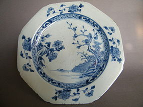 18th Century Eight Sided Chinese Export Plate Qianlong