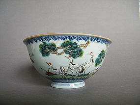 Rare 18th Century Cranes Bowl  Qianlong Mark and Period