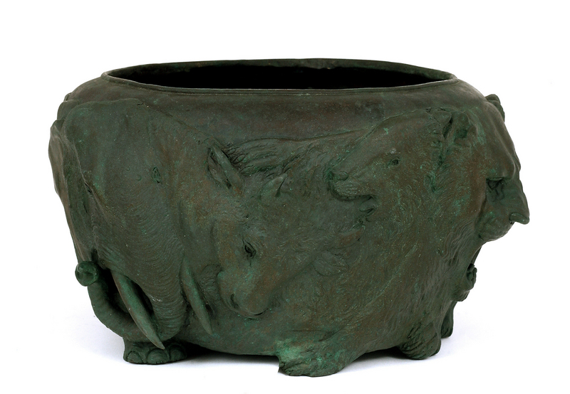 Meiji Japanese Bronze Jardiniere Elephant Tiger Animal