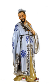 Chinese Famille Rose Calligrapher Wang Xizhi Figurine