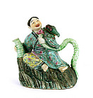 18/19C Chinese Famille Rose Wine Teapot Figurine