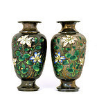 2 Early 20C Chinese Silver Enamel Vase Flower Mk