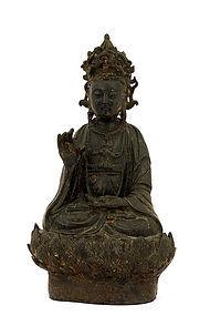 17C Chinese Lacquer Gilt Bronze Buddha Quan Kwan Yin