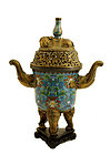 19C Chinese Gilt Cloisonne Elephant Censer