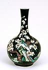 19C Chinese Famille Noire Vase Garden Scene