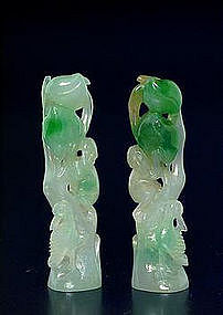 Pair Chinese Jade Jadeite Peach Tree Seal Christies