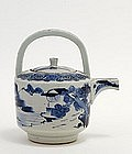 19C Japanese Blue White Imari Winepot Karakus