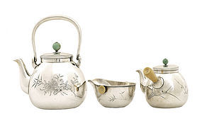 Japanese Silver Tea Set Teapot Jade Top Sg