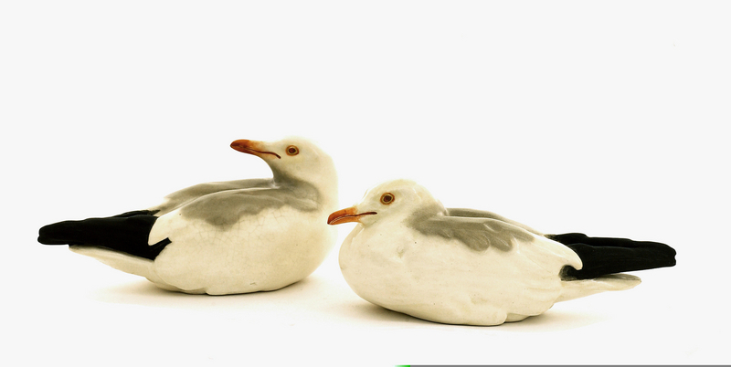 2 Old Japanese Studio Seagull Okimono Tozan