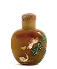 19C Chinese Carnelian Agate Snuff Bottle Lotus Duck