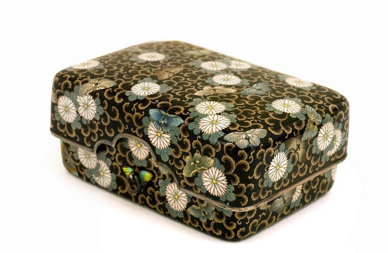 Meiji Japanese Silver Cloisonne Box Flower Butterfly