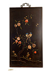 17C Chinese Jade Glass Pearl Embellished Lacquer Panel