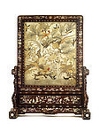 19C Chinese Silk Embroidery Wood Panel Screen MOP Pearl