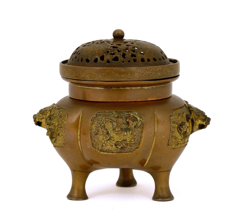 17C/18C Chinese Gilt Bronze Censer Fu Lion Ear