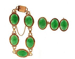 14K Gold Chinese GIA Jadeite Bracelet Earrings Ring Ming's