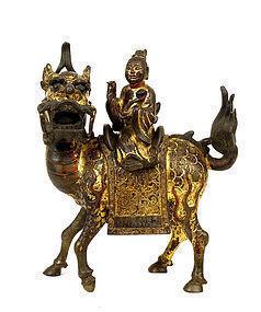 16C Chinese Gilt Lacquer Bronze Immortal Buddha Riding Kilin