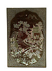 18C Chinese Lac Burgaute Mother of Pearl Box