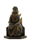 18/17C Chinese Gilded Lacquer Boxwood Guanyin Buddha