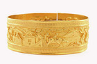 Early 20C Chinese 24K Gold Bracelet with Figures Mk