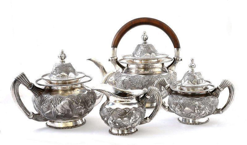 Early 20C Chinese Silver Sterling Tea Set Figurine