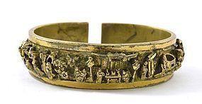 17/18C Chinese Gilt Bronze Man's Bangle Bracelet Figure