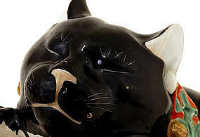 Large Old Japanese Black Kutani Sleeping Cat