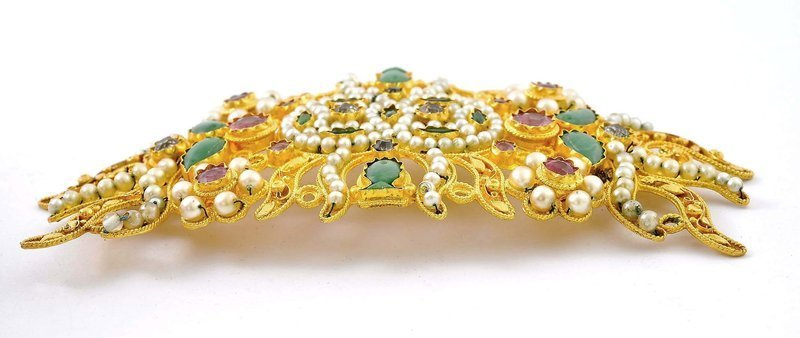 Chinese Openwork 22K Gold Gems-Inlaid Ornament Mk
