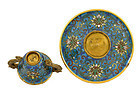 18C Chinese Gilded Cloisonne Cup & Saucer Dragon